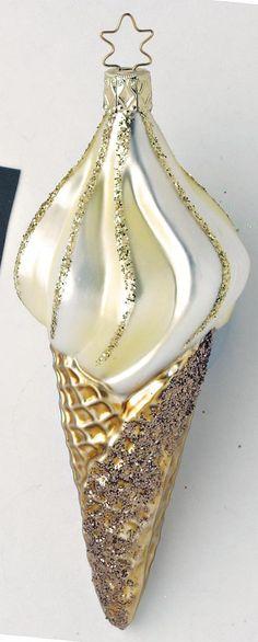 Inge Glas 2004 #Christbaumschmuck#Eiscreme#aus dem Hause Inge Glas.Weihnachtsbaumschmuck made in Germany mundgeblasen und von Hand bemalt bei www.gartenschaetze-online.de