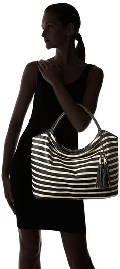 DEL MANO Striped Round Handle Hobo with Tassels Shoulder Bag, White/Black Stripe, One Size