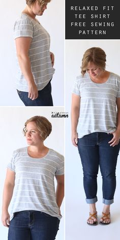 How to sew a classic women's tee with a relaxed fit. Free PDF t-shirt pattern in size large and easy to follow sewing tutorial. #itsalwaysautumn #sewingpattern #t-shirtpattern #howtosew
