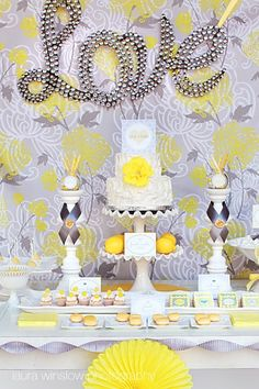 Yellow and grey Dessert Tablescape.