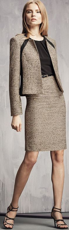 tan tweed skirt suit | Skirt the Ceiling | skirttheceiling.com