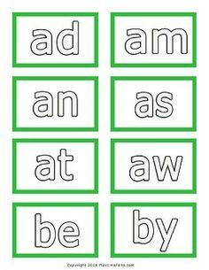 Three Letter Words from A to Z Printable Word Cards to Color