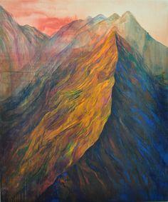 Ji Seon Kim aka Kim Jiseon (Korean, b. 1986, Seoul, South Korea) - Orange Mountain, 2010  Paintings: Acrylics, Oil on Canvas