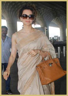 Kangana Ranaut in Fab India saree, Airport, MyFashgram