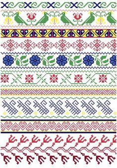Mexican Folk Borders cross stitch pattern www.blackphoebedesigns.com CENEFAS PARA LENCERIA DE CAMA, SE PUEDE APLICAR.
