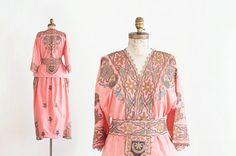 Vintage Rare Silk Two Piece Tambour Embroidered Uzbek Ethnic Women's Costume / Dress - 1930's