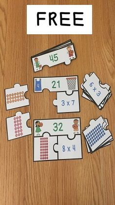 FREE Multiplication Array Puzzles are a valuable asset to any 3rd grade math classroom. This is a great resource for review, math centers, group work and for math interventions. This puzzle set includes 10 puzzles and an optional station instruction page. Your students will love learning about array multiplication strategies with this activity!
