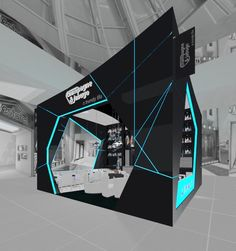 """i like this because of the charcoal. we could do red lighting instead of blue. def change the shape. Stand Design - Silvan Francisco, """"Champagne Jabugo"""", in Madrid. Exhibition Stand Design, Exhibition Stall, Exhibition Display, Kiosk Design, Display Design, Retail Design, Set Design, Modern Design, Design Ideas"""