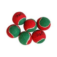 Midlee Candy Cane Filled Tennis Balls Dog 1.5