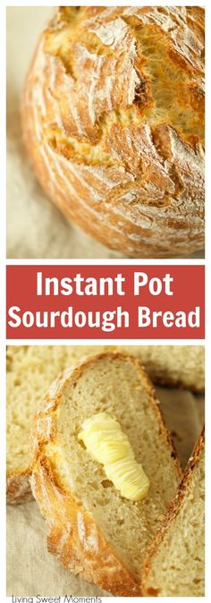 This crusty and delicious Instant Pot Sourdough Bread is made with yogurt and is ready in less than 6 hours from start to finish. Ideal by itself or for sandwiches as well. More instant pot recipes at livingsweetmoments.com via @Livingsmoments