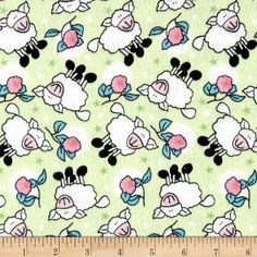 Rosy Sheep Flannel Mint from @fabricdotcom  Designed for Newcastle Fabric, this double napped (brushed on both sides) flannel is perfect for quilting, apparel and home decor accents. Colors include green, blue, white, black and pink.