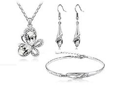 18k white gold plated clear crystal butterfly necklace, earring and bracelet set, http://www.amazon.co.uk/dp/B00WNDBW40/ref=cm_sw_r_pi_awdl_561Uvb05NZ1AA