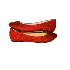 Womens Sparkly Cherry Red Glitter Ballet Flats Wedding Bride Prom Shoes Pin Up