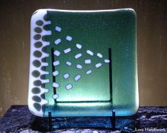 White & Light Aquamarine Square Slumped Fused by LoveHandyWork Glass Beer Mugs, Getting Fired, Green Copper, Black Abstract, Glass Dishes, White Light, Safe Food, Fused Glass, I Shop
