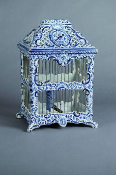 Delft blue and white bird cage