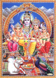 Shiva Family Images of Shiva Parvati Ganesha and Muruga together. Pictures of Hindu Gods Lord Shiva and Goddess Parvati Devi with their chi. Shiva Shakti, Shiva Art, Hindu Art, Shiva Hindu, Lord Shiva Hd Wallpaper, Indiana, Wallpaper Free, Iphone Wallpaper, Lord Shiva Family