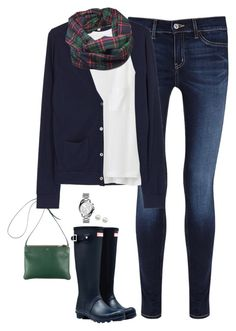 """Plaid scarf, navy cardigan & Hunter boots"" by steffiestaffie ❤ liked on Polyvore featuring MiH, Hunter, CÉLINE, Clu, Uniqlo, Majorica and Michael Kors"