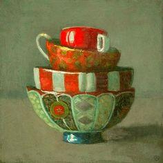 Olga Antonova  Stacked Bowls with Red  21st century http://stilllifequickheart.tumblr.com/post/15426535804/olga-antonova-stacked-bowls-with-red-21st