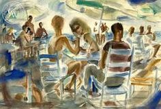 Laguna Beach Party, 1940, California art by Alexandra Bradshaw. HD giclee art prints for sale at CaliforniaWatercolor.com - original California paintings, & premium giclee prints for sale
