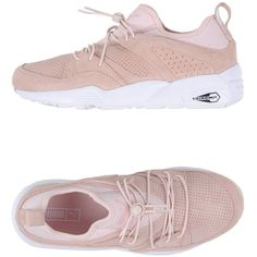 Puma Low-tops & Trainers (€87) ❤ liked on Polyvore featuring shoes, sneakers, light pink, puma sneakers, leather flat shoes, leather low top sneakers, animal shoes and low top