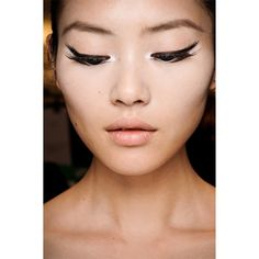 Makeup for East Asian Eyes ❤ liked on Polyvore featuring beauty products, makeup, eye makeup, models, people, beauty and liu wen