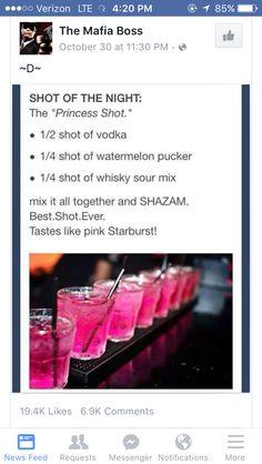 *Princess Shot* Made w/Vodka, Watermelon Pucker & Whiskey Sour.(tastes like a pink Starburst! Liquor Drinks, Cocktail Drinks, Princess Shot, Pink Princess, Princess Barbie, Alcohol Drink Recipes, Alcohol Shots, Vodka Alcohol, Mixed Drinks Alcohol
