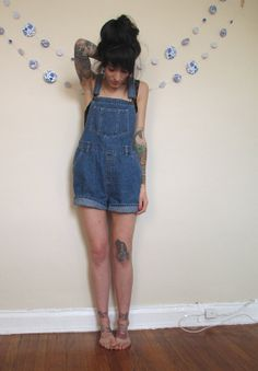 Woman in Denim Overalls
