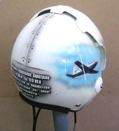 Pilot Helmet Design ~ Hand Painted Helmets - Design your helmet today. Helmet Paint, Helmet Design, Football Helmets, Pilot, Hand Painted, Outdoor Decor, Painting, Painting Art, Paintings