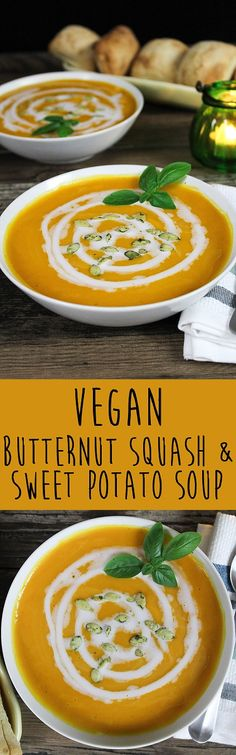 butternut squash soup This Vegan Butternut Squash & Sweet Potato Soup is rich, creamy and comforting. It's dairy-free, gluten-free and delicious! Vegan Soups, Vegan Dishes, Soup Recipes, Vegan Recipes, Alkaline Recipes, Chili Recipes, Vegan Food, Vegan Sweets, Vegetarian Food