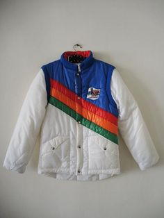d147e3ef43384 Unique rainbow puffer ski jacket vest combination with detachable sleeves  from the Ski Worldcup 1981