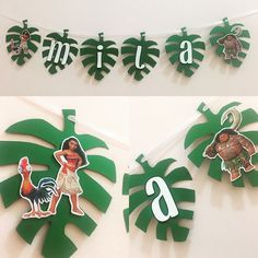 Disneys Moana Inspired Banner. Leaf pendants are approximately 5.5-6 inches in height and the letters are 2 layers of cardstock. Banner is strung together with white satin ribbon.