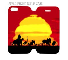 iPhone 5C Flip Case Cover Lion King Family Sunset Silhouette #QuinnCafe