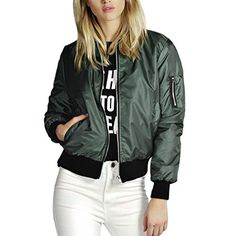 Ecowish Womens Classic Short Padded Bomber Jacket Coat Quilted Jacket -- Want additional info? Click on the image.