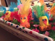 Klein danoontje beplakken met veertjes als vleugels en staart, oogjes en snavel plakken. Doosje rozijntjes eronder plakken, eerst inpakken met oranje papier en pootjes er op tekenen. Klaar!