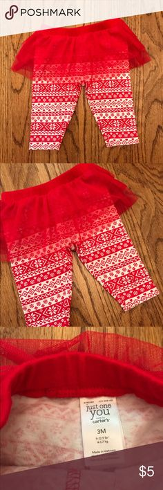 Red Tutu Leggings Adorable red tutu Carter's leggings. Excellent condition. Only worn twice for pictures. Size 3 months. Carter's Bottoms Leggings
