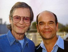 A cool picture of two on-screen doctors as DeForest Kelley and Robert Picardo meet.