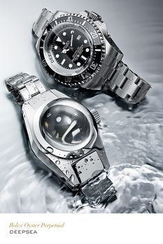 On the bottom left, the1960 Rolex Deep Sea Special and on the top right, the 2012 Rolex Deepsea Challenge Experimental watch.