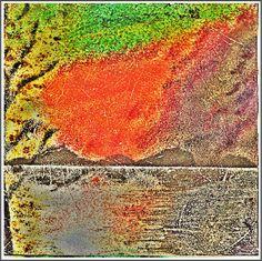 "Australien, ""Abend am Muray River"", Streu- und Nassmaltechnik, ca. 25 x 25 cm"
