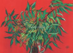 """""""Ash-tree, floral art, red & green, summer greenery"""" by clipsocallipso 