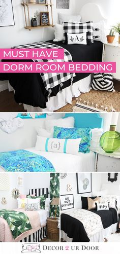 Dorm Bedding Packages Shop trendy dorm room bedding and décor. Choose your favorite twin xl bedding set to fit your uniq Pink Dorm Rooms, Boho Dorm Room, Dorm Room Bedding, Cute Dorm Rooms, Bedding Decor, Twin Xl Bedding Sets, Queen Bedding, Dorm Bed Skirts, Dorm Walls
