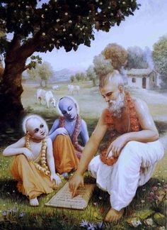 Krishna and Balarama go to gurukula to serve their teacher, Sandipani Muni.