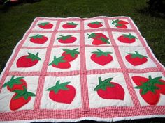 Fun strawberry quilt by bonniesewandso on Etsy, $200.00