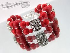 Pulsera piedra roja Bohemia joyería San por OohlalaBeadtique