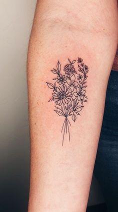tattoo, delicate, flower, floral, bouquet, daisy, iris, violet, fine line, vine, nature Violet Flower Tattoos, Flower Bouquet Tattoo, Delicate Flower Tattoo, Violet Tattoo, Birth Flower Tattoos, Dainty Tattoos, Pretty Tattoos, Cute Tattoos, Small Tattoos