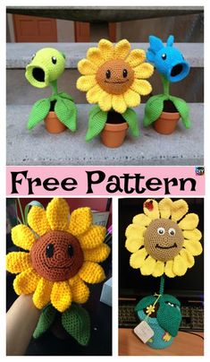 Happy Crochet Amigurumi Sunflower – Free Pattern #freecrochetpatterns #flowers #crochetflower