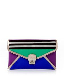 BROWN & WHITE PLUS DECO STRIPE CLUTCH