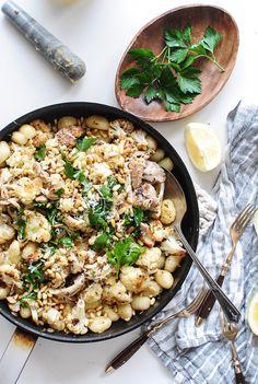 roasted cauliflower + gnocchi + pan seared chicken