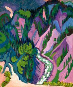 bofransson:  Ernst Ludwig Kirchner 1880 - 1938 Im Sertigtal (In Sertig Valley)  sooooo good. the purple and pink. whoa.