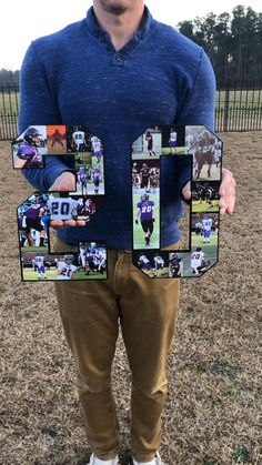 Senior Football Gifts, Senior Night Gifts, Basketball Gifts, Football Boys, Letter Photo Collage, Photo Letters, Night Photos, Team Gifts, Grad Parties