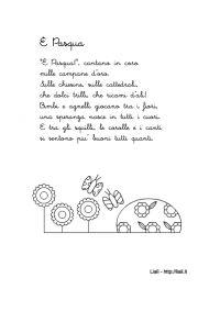 """Filastrocca """"E' Pasqua"""" con un disegno da colorare"""